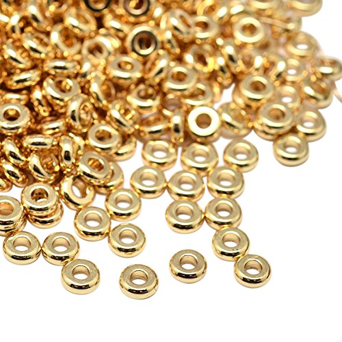 NBEADS 20Pcs 4mm Brass Smooth Round Metal Spacer Beads Loose Beads for DIY Jewelry Making Findings