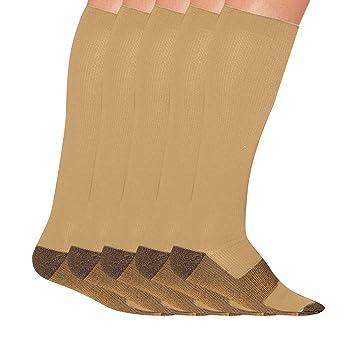 Jinjin 5 Pairs Men Women Copper Fiber Pure Compression Socks Non-Slip Stockings
