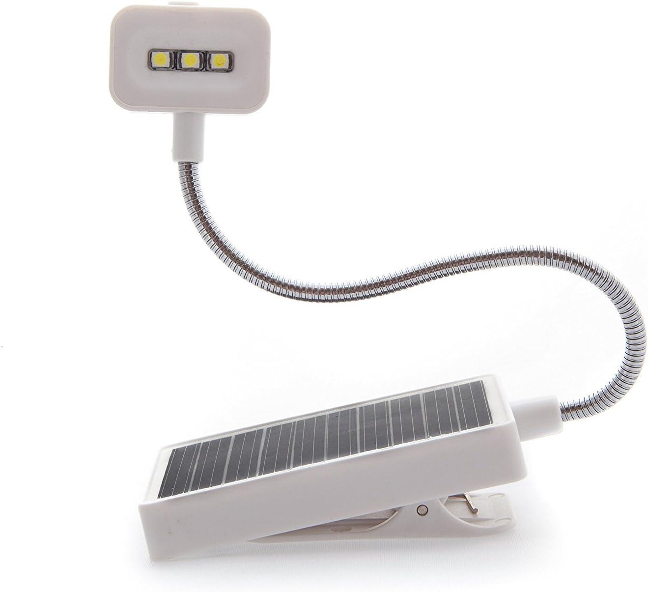 Solar Clip on Book Light,Glovion LED Reading Light USB Rechargeable and Solar Powered,2 Brightness Settings Flexible Neck/& Clip-on-White
