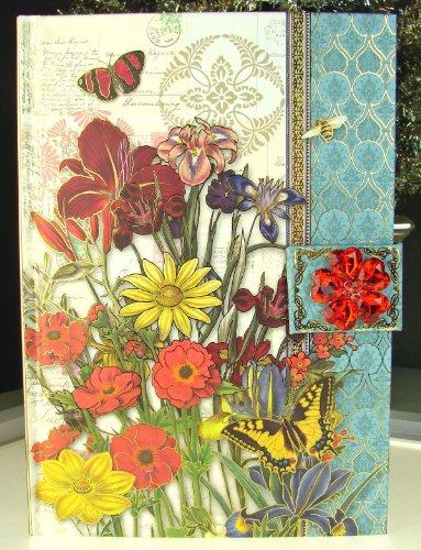 95067 Punch Studio Boutique Brooch Journal Bright Garden Summer Flowers Bees Swallowtail Butterfly