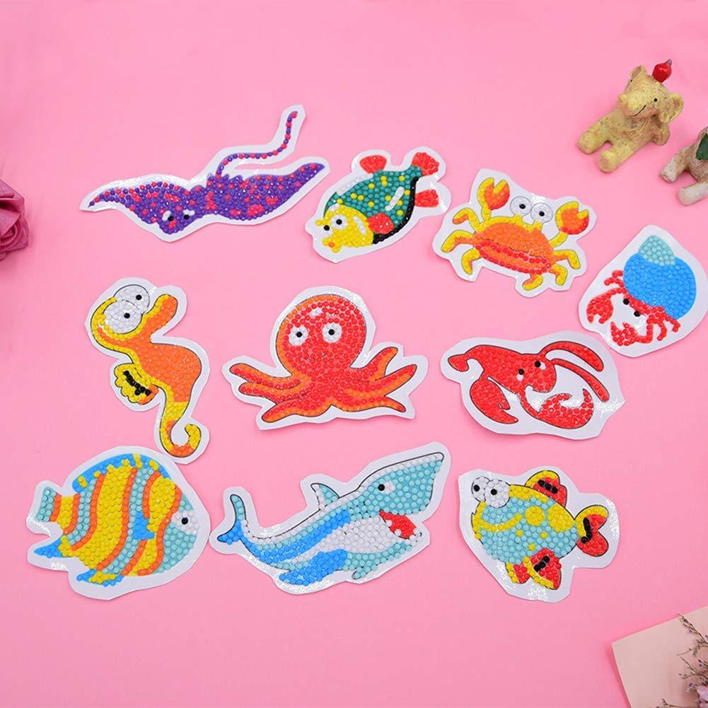 Bibivisa 5D Diamond Painting Kits for Kids 10 PCS Sea-Animals DIY Diamond Dotz Kits with Tools Crystal Mosaic Sticker by Numbers Kits Arts and Crafts Set for Children