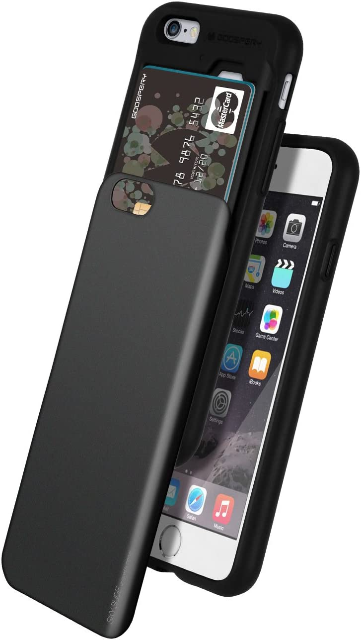 iPhone 6 Case, GOOSPERY [Sliding Card Holder] Protective Dual Layer Bumper [TPU+PC] Cover with Card Slot Wallet for Apple iPhone 6 (Black) IP6-SKY-BLK