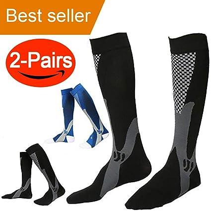 Calcetines de compresión para hombres, (par de 2) calcetines de Running, calcetines