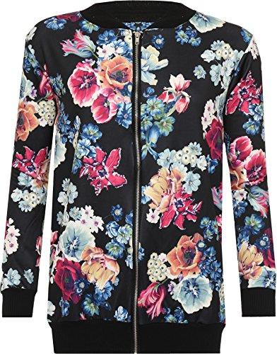 WEARALL Femmes Grande Taille Floral Imprimer Rose Bomber Bombardier Veste Manches Longues Zip Manteau Varsity - 42-56 Noir