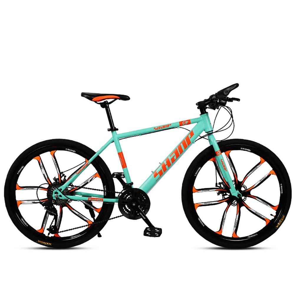 verde FJW Unisexo Bicicleta de montaña Hardtail Estructura de Acero con Alto Contenido de Carbono 26 Pulgadas Ruedas de 10 radios Bicicleta MTB 21 24 27 30 Velocidades con Frenos de Disco,amarillo,30Speed 21Speed