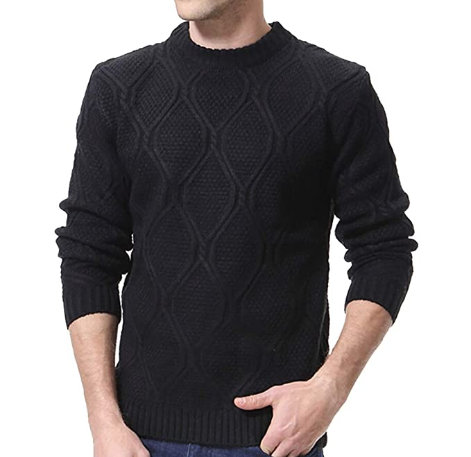 xiaohuoban Mens Slim Fit Long Sleeve Sweaters Knit Crewneck