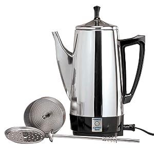 WalterDrake Presto 02811 12 Cup Stainless Steel Coffee Maker, CHROME