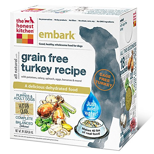 The Honest Kitchen Embark Grain Free Dog Food - Natural Human Grade Dehydrated Dog Food, Turkey, 10 lbs (Makes 40 lbs)