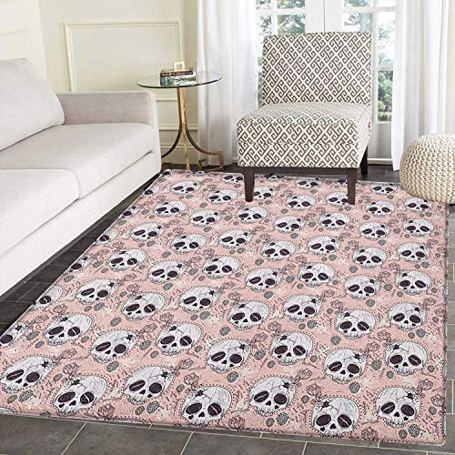 (Skull Rug Kid Carpet Halloween Traditional Mexican Sugar Day of The Dead Roses Horror Folk Pattern Home Decor Foor Carpe 3'x5' Blush White)
