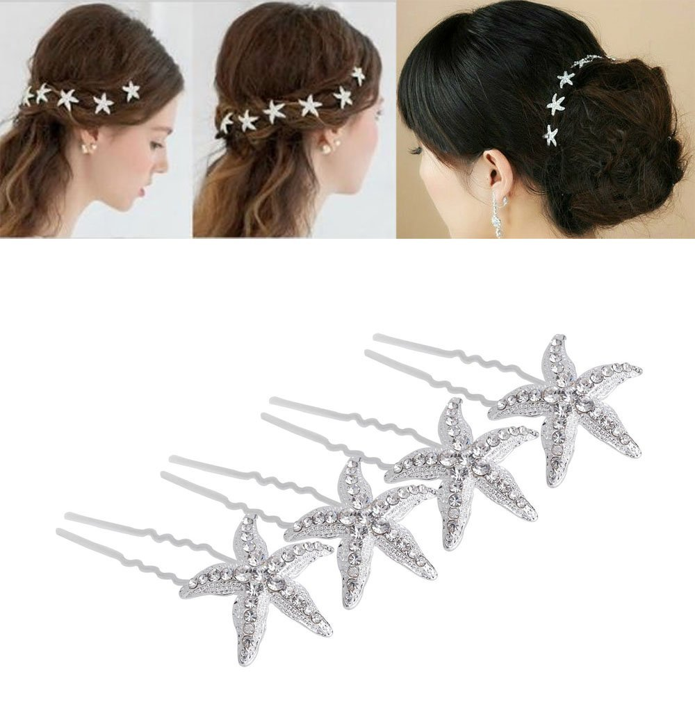 yueton Pack of 10 Bride Crystal Rhinestone Starfish Hair Pin Hair Jewelry Hair Accessories Women Headwear Headdress for Beach Themed Wedding,Party, Daily Use