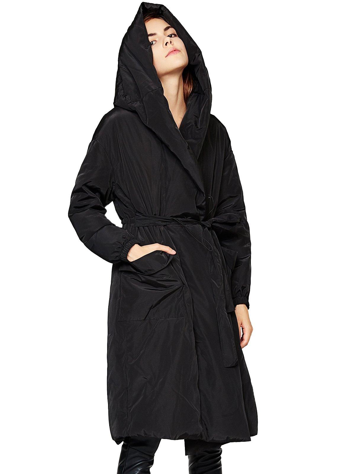 ANNA&CHRIS Womens Long Light Down Jacket Open Front Coat With Belt Hooded Parka 2XL