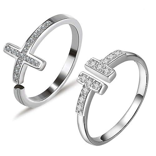 Gilind Set de 2 anillos de compromiso, en plata de ley 925, con circonita