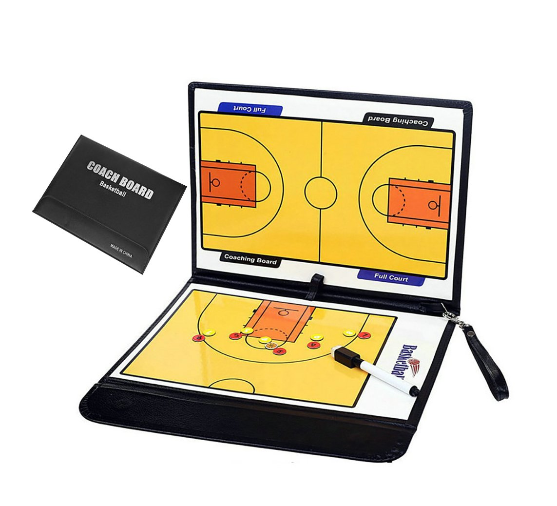 Wrzbest Basketball Tactic Board Coach's Coaching Strategy Clipboard Foldable Dry Erase Whiteboard
