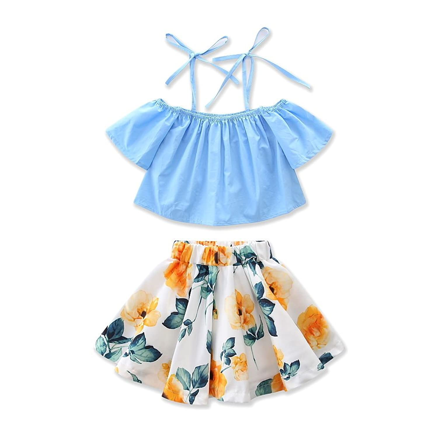 ABEE Little Girls' Clothes Off Shoulder Tops + Floral Skirt 2pcs Outfits Set