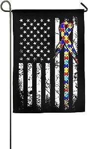 Cutadornsly Garden Flag, Autism Awareness American Flag House Flag For Sports Events Home Outdoor Garden Decor