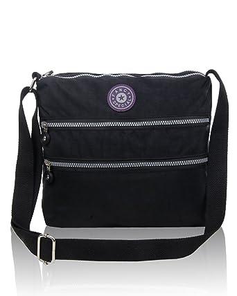Women s Multiple Zip Pockets Messenger Shoulder Handbag Ladies Nylon Style Crossbody  Bag Size 28x25x6 CM ed4f9dabcd7e4
