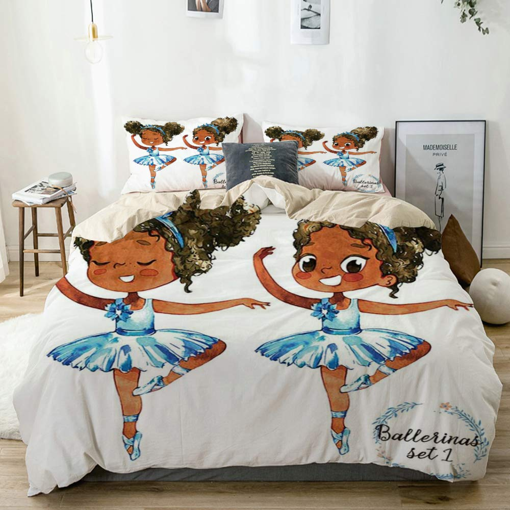 "GRATNNA Decorative Duvet Cover,African American Black Girl Ballerina Princess Afro American Teen Girl Gymnastic Ballet Dancer,Hotel Dorm Bedding Set with 2 Pillow Shams (Twin/68""x86"")"