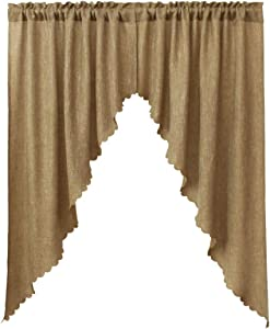 VORTTA Burlap Look Swag Curtains Soft Half Window Rustic Natural Tan Kitchen Curtains Valance and Swags 63 inch Length, 2 Panels