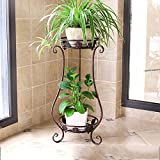 LQQGXL European balcony flower shelf iron multi-layer living room interior floor plant flower stand Flower stand ( Color : Bronze , Size : 3024.562cm )