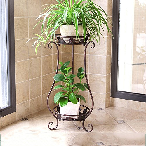 LQQGXL European balcony flower shelf iron multi-layer living room interior floor plant flower stand Flower stand ( Color : Bronze , Size : 3024.562cm ) by LQQGXL