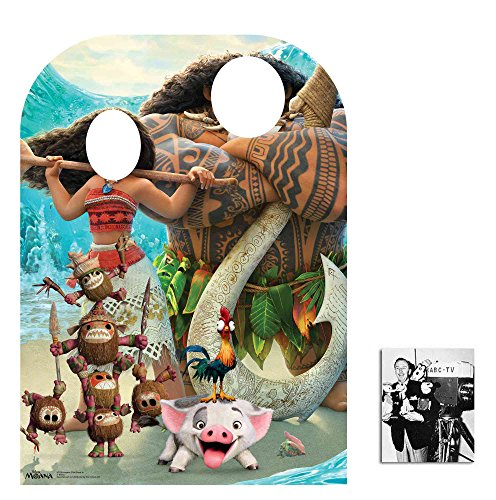 Fan Pack - Moana and Maui Child Size Stand-in Cardboard Cutout / Standup - Includes 8x10 Star Photo -