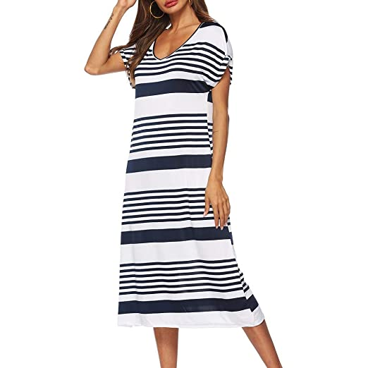 c0141fa31d16 Uscharm Girls Summer Dress Womens Casual V-Neck Short Sleeve Stripe Knee  Length Loose Party Dress at Amazon Women s Clothing store