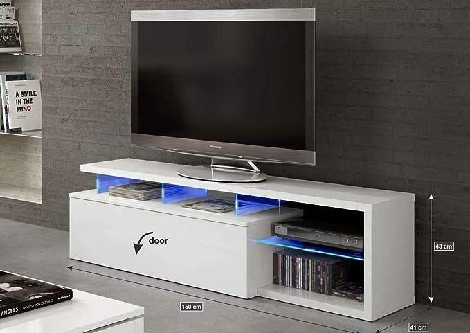 Mesa de Televisión Salon Blanco Brillo y Luces LED, Medidas ...