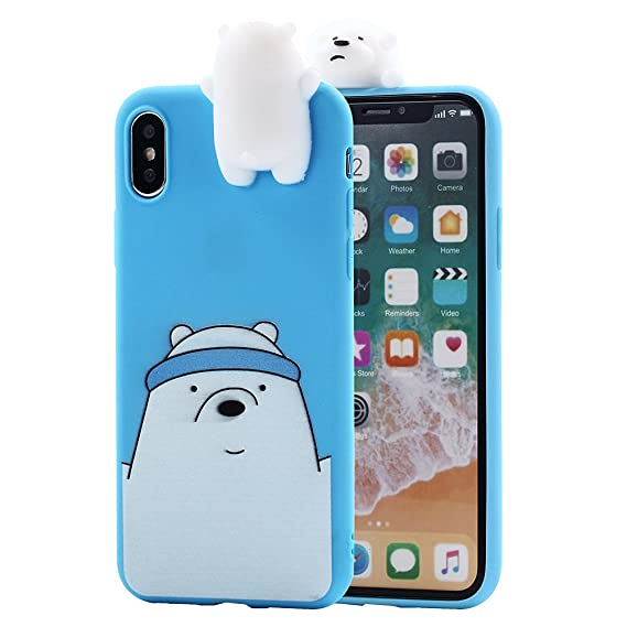 sale retailer 0bb8f 0d9e9 iPhone X Case, Umiko(TM) 3D Cartoon Animals Super Cute Funny We Bare Bears  Ice Polar Bear Soft Silicone Case Skin for Apple iPhone X iPhone 10 (2017)  ...