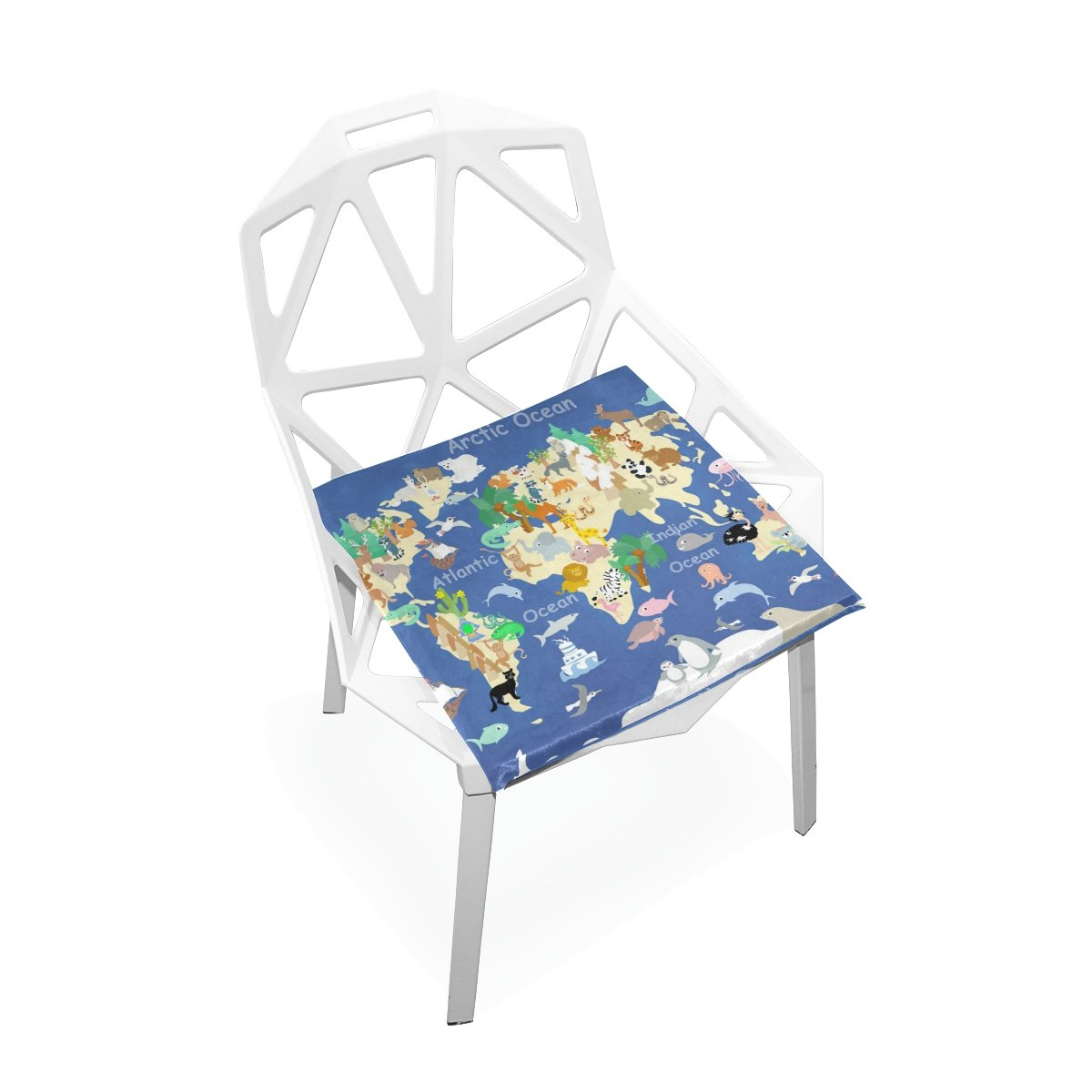 PLAO Chair Pads Flat World Animals Soft Seat Cushions Nonslip Chair Mats for Dining, Patio, Camping, Kitchen Chairs, Home Decor