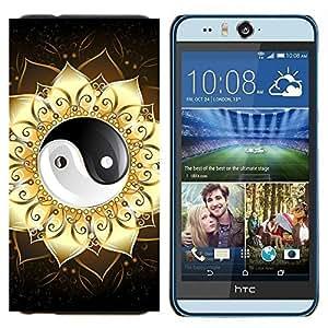 KLONGSHOP // Cubierta de piel con cierre a presión Shell trasero duro de goma Protección Caso - Ying Yang floral sesión - HTC Desire Eye M910x //