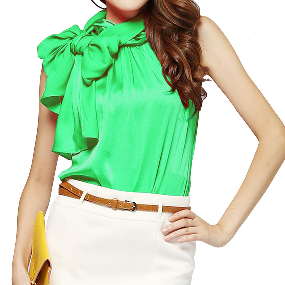 43e09e3ba3851 Silk Bow Collar Sleeveless Shirt Blouse for Womens TC01 at Amazon Women s  Clothing store