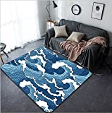 Vanfan Design Home Decorative 279262373 Japanese abstract blue and white wave seamless pattern Modern Non-Slip Doormats Carpet for Living Dining Room Bedroom Hallway Office Easy Clean Footcloth