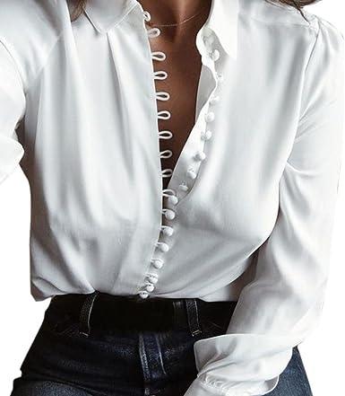 OverDose mujer Mangas Largas Casual Moda SóLida Mejor Venta Modelo OtoñO Blusa Solapa Camisa (M, Blanco): Amazon.es: Ropa y accesorios