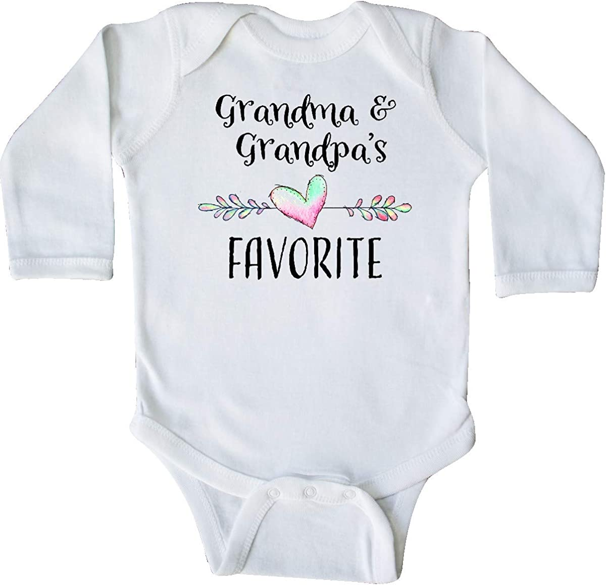 Heart Grandchild Long Sleeve Creeper inktastic Grandma and Grandpas Favorite