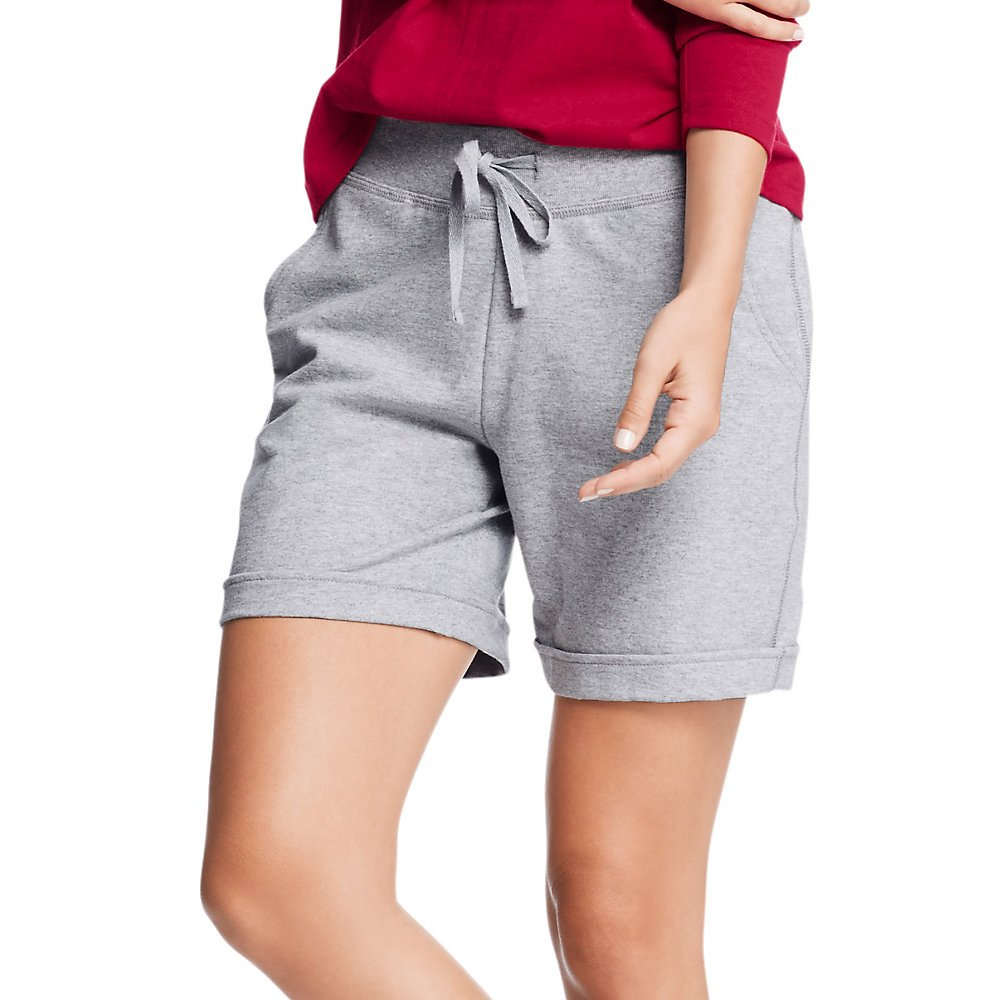 Hanes Womens French Terry Bermuda Pocket Short O4681_Light Steel_L