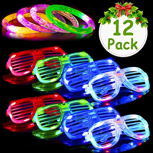 AMENON Christmas Party Favor 12 Pack Light Up Toys for Kids, 6 Led Glasses 6 Led Party Bracelet Slap 2019 Happy New Year Eve Glow in The Dark Party Pack Holiday Xmas Birthday Party Assortment