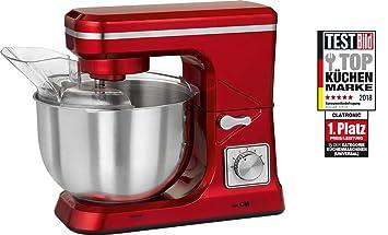 Clatronic KM 3647 Batidora amasadora 1000 W, 5 litros, Acero Inoxidable, 8 Velocidades, Rojo: Amazon.es: Hogar