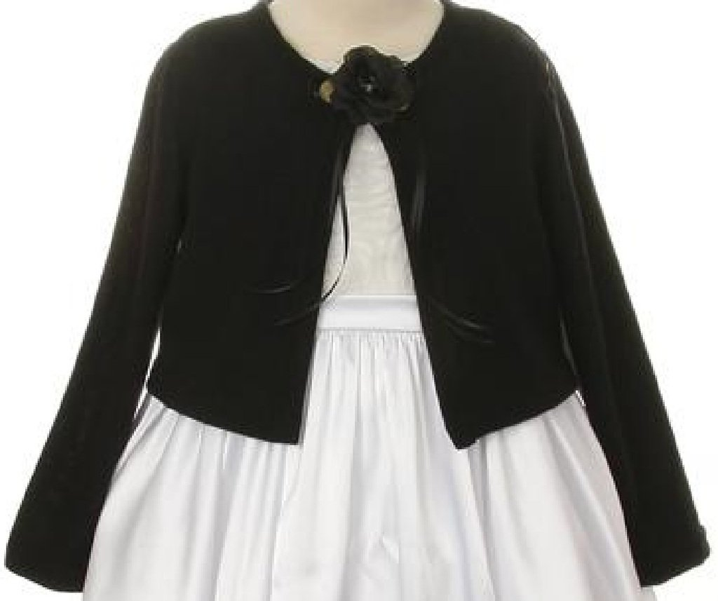 Little Girls Long Sleeve Flower Girl Cardigan Sweater Bolero (13KD3) Black 6