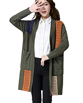 88a8f0a1a70215 CHENGYANG Women Loose Knitted Long Sleeve Sweater Cardigan Fight Color Coat  with Pockets (Dark Green
