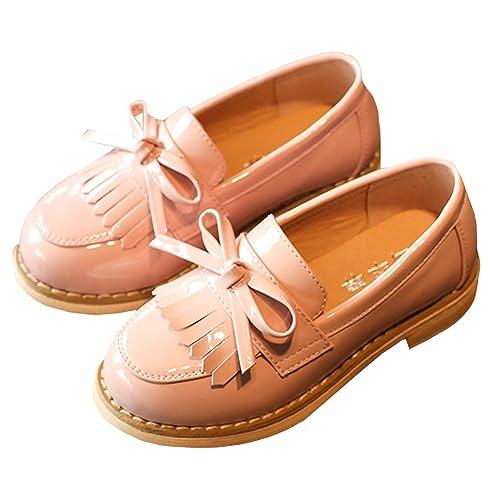 M&A 2017 Niñas Zapatos Otoño Invierno Cuero Princesa Antideslizante Plana Escolares Borlas Primavera Rebajas Rosa 32
