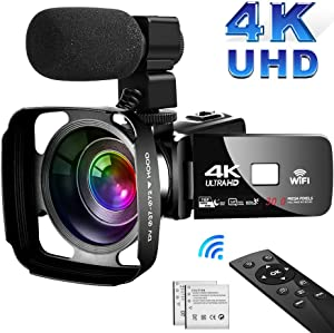 SAULEOO 4K Camcorder Video Camera,Vlogging Camera for YouTube 30MP Camcorder 3.0 Inch Touch Screen Night Vision Pause Function with Microphone