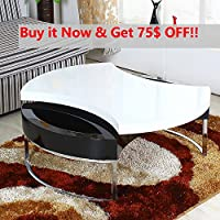 OSPI Round Rotating Coffee Table, Modern Design Better Match for Home & Office Furniture (White&Black)