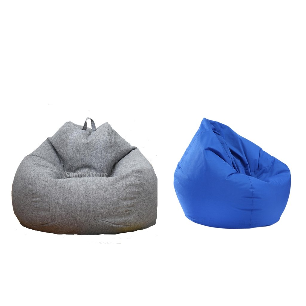 non-brand MagiDeal 2 Pieces Solid Color Stuffed Animal Storage Bean Bag Cover Gray & Royal Blue