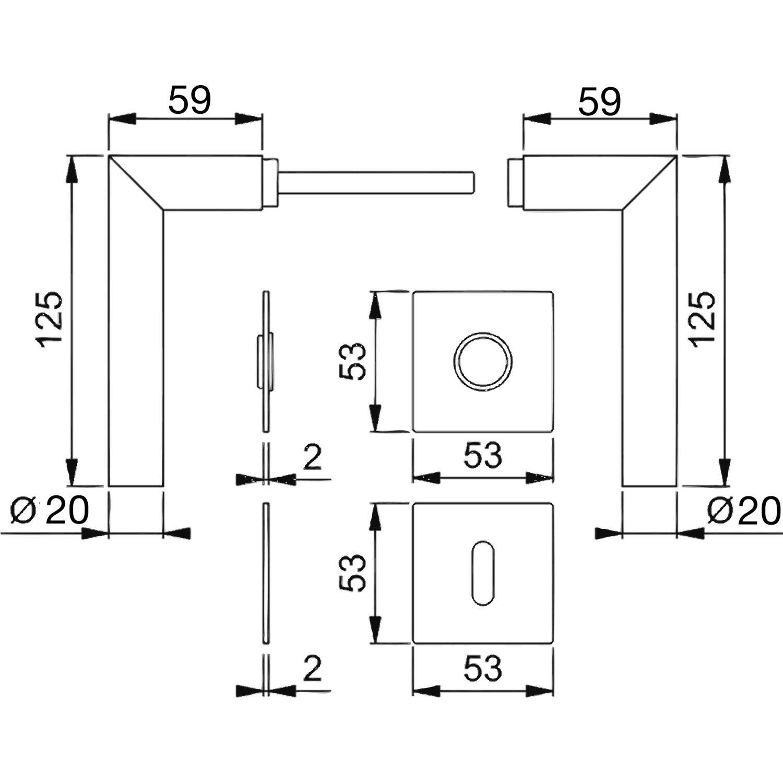 Edelstahl auf Rosette Buntbart HOPPE Dr/ückergarnitur AMSTERDAM f/ür T/ürst/ärke 35-45mm