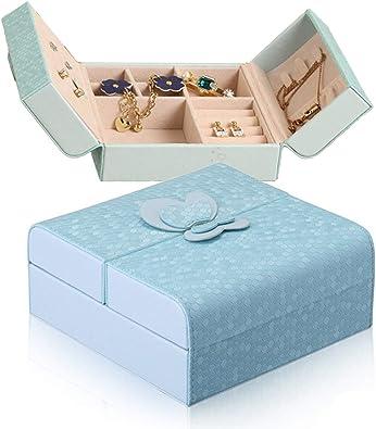 DYD Caja Joyero Viaje Mujer Organizador para Collares Aretes Anillos, Regalo Ideal, Azul: Amazon.es: Joyería