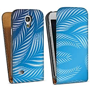 Diseño para Samsung Galaxy S4 Mini I9195 DesignTasche Downflip black - Blue Leaves