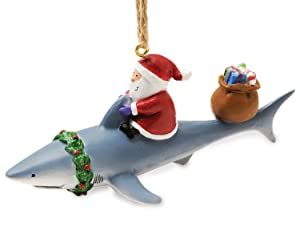 Cape Shore Santa Riding Shark Ornament
