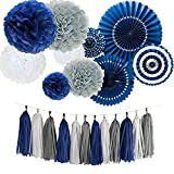 White Grey and Navy Blue Tissue Paper Tassel Tissue Paper Pom Poms Flowers Paper Fans Kit For Party Decorations Wedding,Festival,Party Decoration