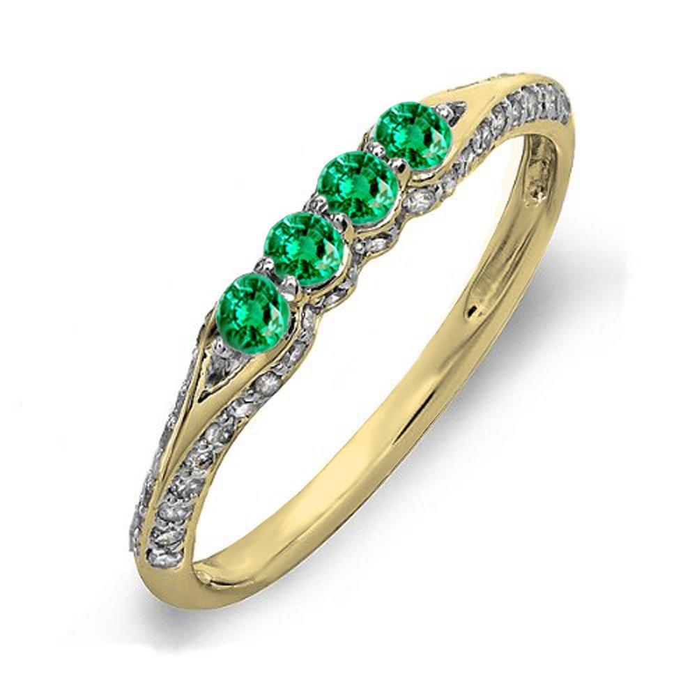 14K Yellow Gold Round Emerald & White Diamond Ladies Stackable Anniversary Wedding Band (Size 7.5)