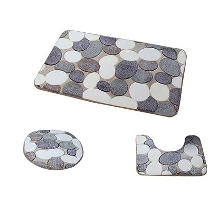 Aspiredeal Set of 3 Pcs Big Pebbles Pattern Bathroom Non-Slip Pedestal Rug Lid Toilet Cover Bath Mat Set